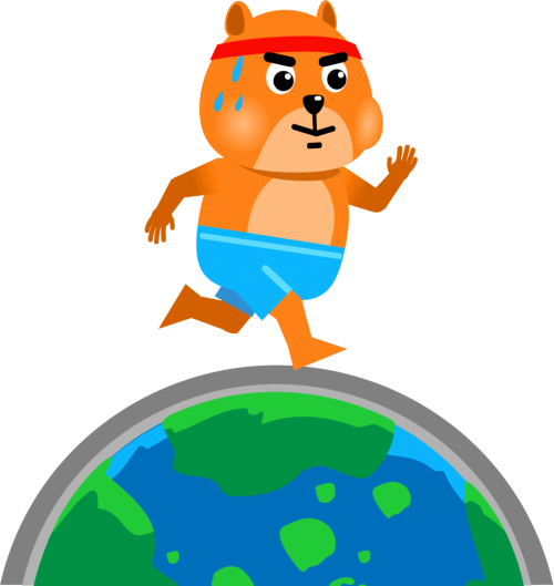 Hamster with sweating brow running around the world